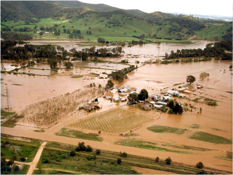 Riverine type flooding near Myrtleford from the Overns River. Source: Jaris Photography